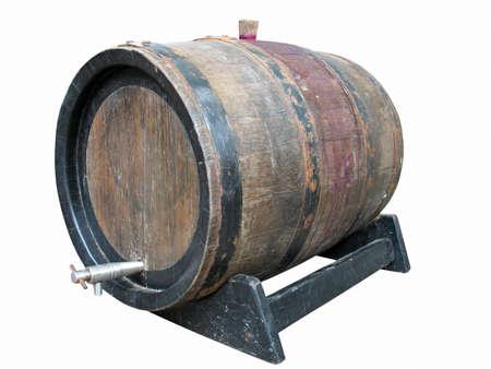 oak barrel: Vintage old wooden barrel isolated over white background Stock Photo