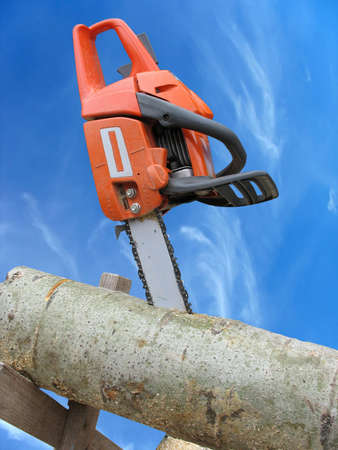 chain saw in cut of wooden log over blue sky background photo
