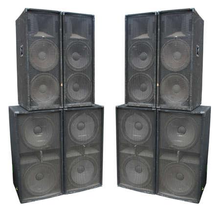 oude krachtige fase concerto audio speakers op een witte achtergrond Stockfoto