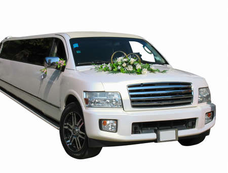White wedding limousine isolated on white background photo