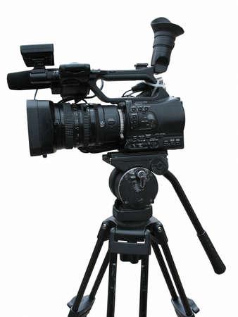 TV Professionele studio digitale video camera geà ¯ soleerd op witte achtergrond Stockfoto