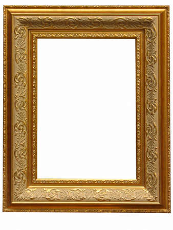 Vintage antique gold picture frame isolated over white background photo