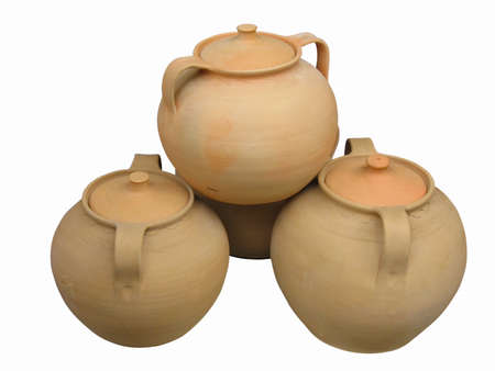 Clay pottery vase dishes with decorative pattern Stock Photo - 11519453