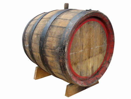Vintage old wooden barrel isolated over white background photo