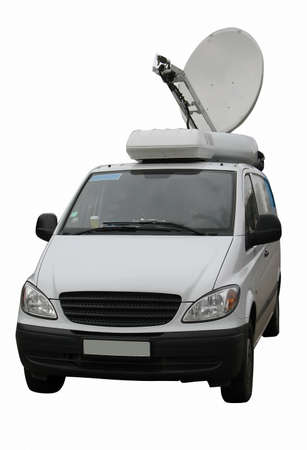 satellite view: television news reporter truck with satellite dish isolated over white background