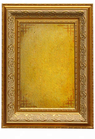 Vintage golden picture frame with empty parchment background