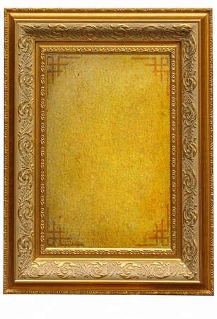 Vintage arany képkeret üres pergamen háttér Stock fotó