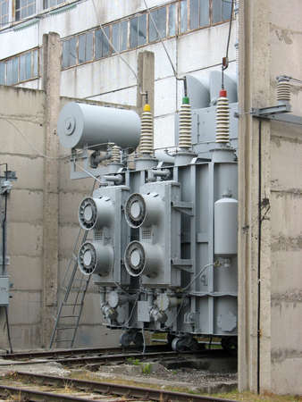 Huge industrial high voltage converter at a power plant photo