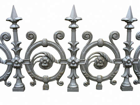 wrought iron: Forged decorative fence isolated over white background