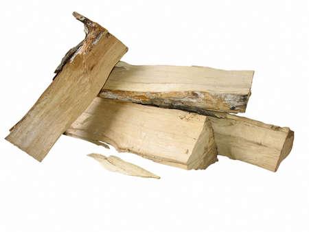 gezaagd hout brand hout geà ¯ soleerd op witte achtergrond