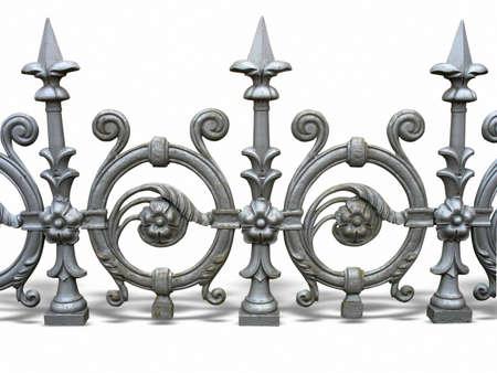 puertas de hierro: Cerca de forjado decorativo con sombra aisladas sobre fondo blanco Foto de archivo