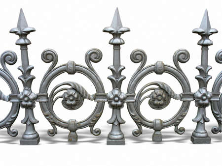 iron fence: Forged decorative fence with shadow isolated over white background