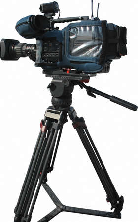 TV Professional digital video camera on tripod isolated over white background photo