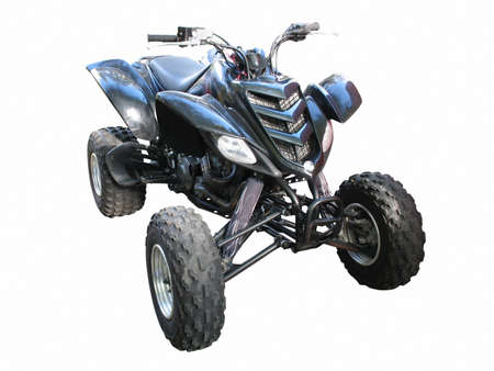 Black quadbike atv isolated over white background photo