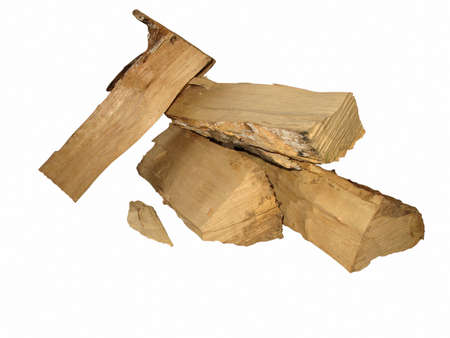 cut logs fire wood isolated over white background Stock Photo - 14267292
