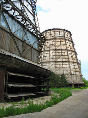cooling towers: Water cooling tower at old electric power plant Editorial