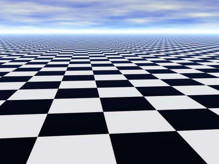Abstract oneindige schaken vloer en bewolkte blauwe hemel
