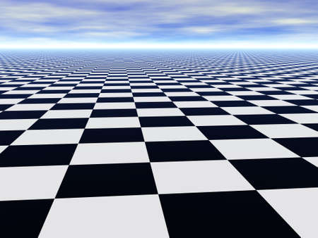 Abstract infinite chess floor and cloudy blue sky