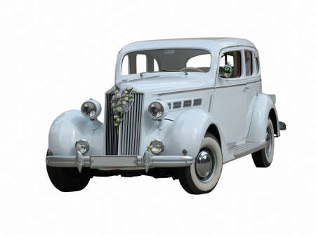 retro vintage white dream wedding luxury car isolated over white background photo