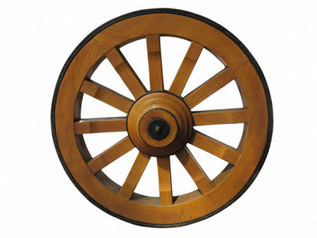 spoke: Antique Cart Wheel made of wood and iron-lined, isolated over white background Stock Photo
