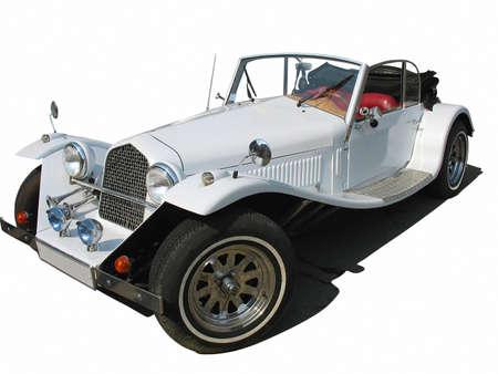 Abstracte retro wijnoogst wit droomhuwelijk luxe auto geïsoleerd op witte achtergrond Stockfoto