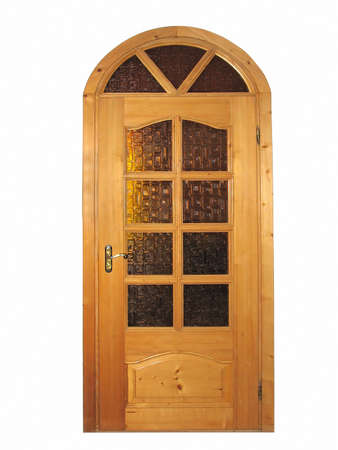 Closed natural wooden door with glass isolated over white background photo