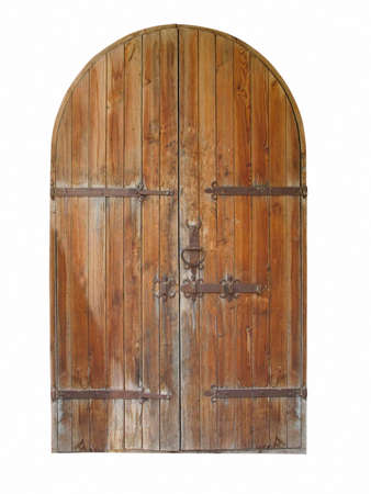 vintage wooden door isolated on white background  photo