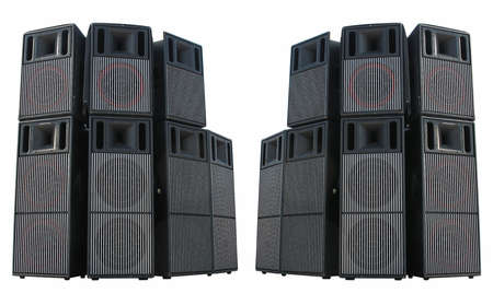 heavy metal music: Old powerful stage concerto audio speakers isolated on white background