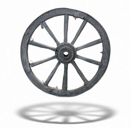 wagon: Antique Cart Wheel made of wood and iron-lined, isolated over white background, with shadow Stock Photo