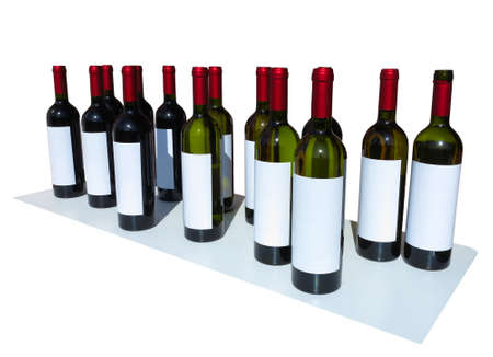 unlabeled: Unlabeled Wine Bottles Isolated over white background