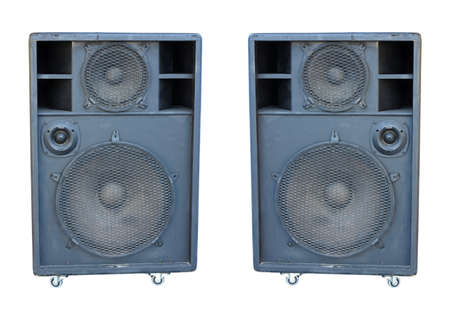 old powerful stage concerto audio speakers isolated on white background Stock Photo - 15940799