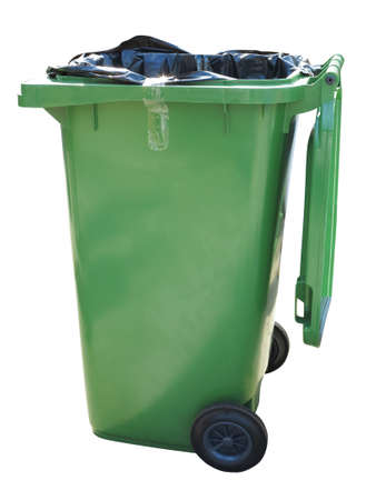 waste basket: Green trash container isolated over white background Stock Photo