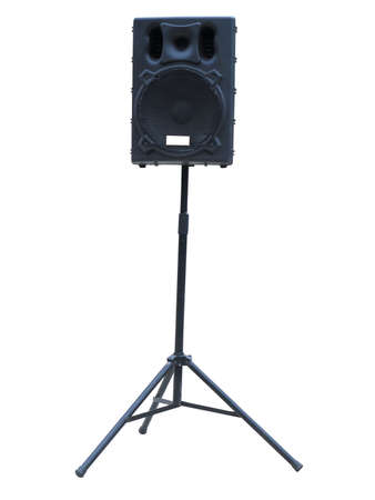 concerto: Old powerful stage concerto audio speakers isolated on white background