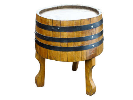 oaken: Stylish table made from old barrel isolated over white background
