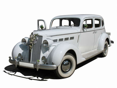 retro vintage white dream wedding luxury car isolated over white background