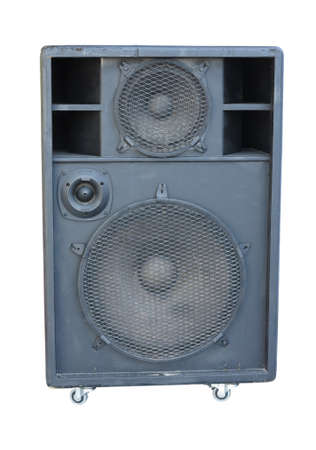 concerto: old powerful stage concerto audio speaker isolated on white background Stock Photo