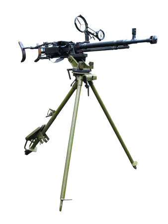 Old soviet army machine gun isolated on white background photo