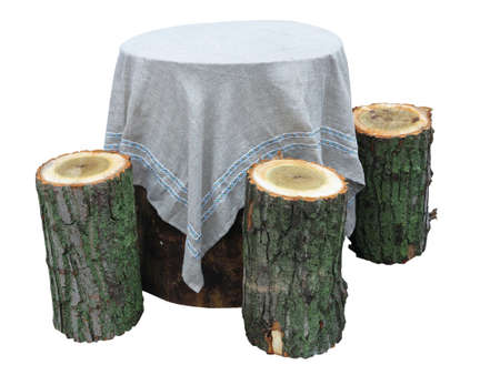 Garden furniture made from wooden log isolated on white background Stock Photo - 16641879