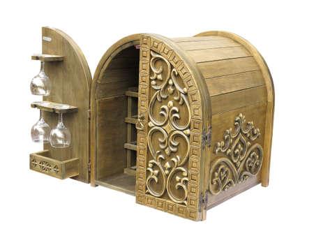Old elegant wooden wine bar box isolated over white background Stock Photo - 16641867