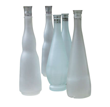 unlabeled: Set of unlabeled beautiful bottles isolated over white background Stock Photo