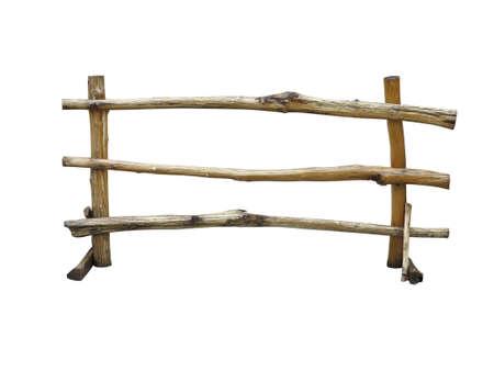 rancho: Cerca de madera en el rancho aislado sobre fondo blanco