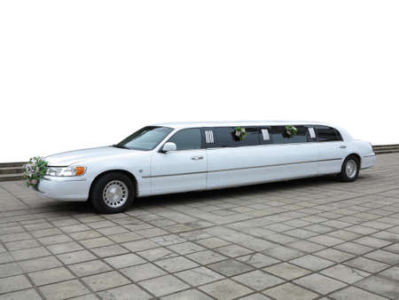 White wedding limousine for celebrities and special events over white background