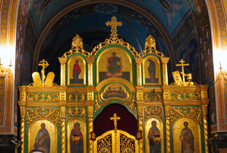ornated: Gold ornated interior of orthodox church in Europe
