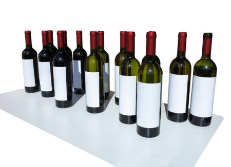 Unlabeled Wine Bottles Isolated over white background photo