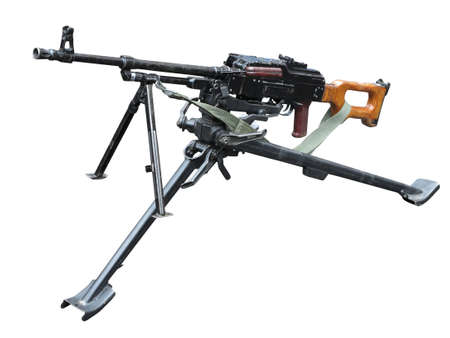 sniper rifle: Old soviet army machine gun isolated on white background