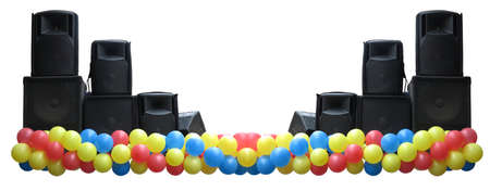 Powerful concerto audio speakers and balloons on stage isolated over white background Stock Photo - 17891955
