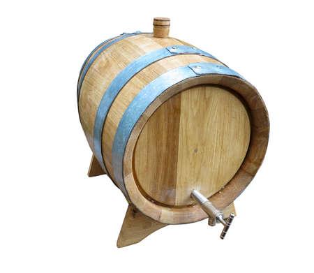 barel: Old elegant wooden barel isolated over white background Stock Photo