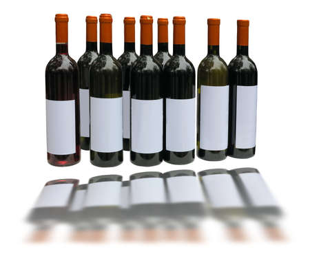 unlabeled: Set of unlabeled wine bottles isolated over white background