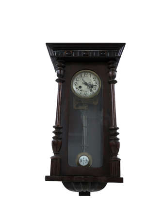 grandfather clock: 19th Century old pendulum wooden clock isolated on the white