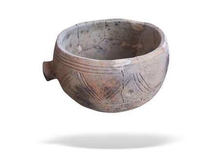 prehistoric pottery isolated over white background Standard-Bild